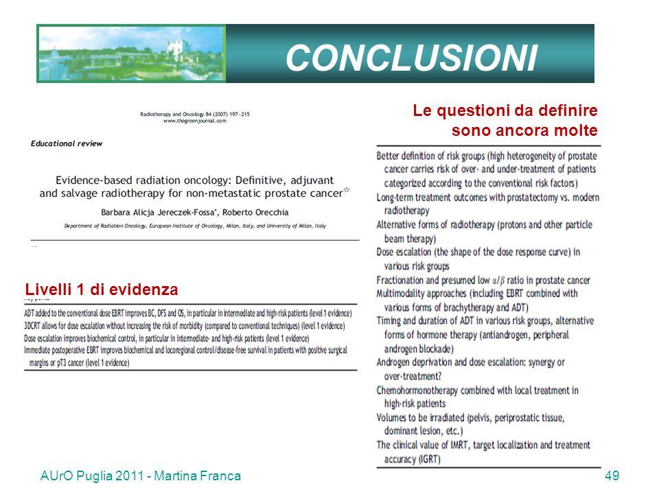 AUrO Puglia 2011 - Martina Franca49 CONCLUSIONI Le questioni da definire sono ancora molte Livelli 1 di evidenza