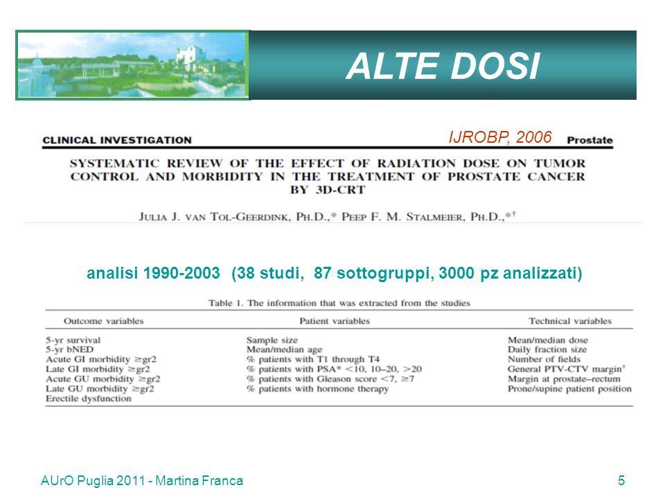 AUrO Puglia 2011 - Martina Franca5 ALTE DOSI analisi 1990-2003 (38 studi, 87 sottogruppi, 3000 pz analizzati) IJROBP, 2006
