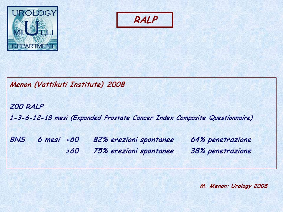 RALP Menon (Vattikuti Institute)2008 200 RALP 1-3-6-12-18 mesi (Expanded Prostate Cancer Index Composite Questionnaire) BNS6 mesi<6082% erezioni spont