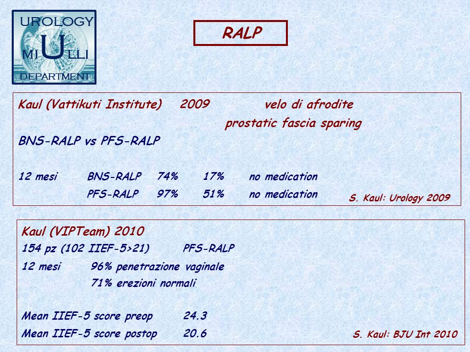 RALP Kaul (Vattikuti Institute)2009 velo di afrodite prostatic fascia sparing BNS-RALP vs PFS-RALP 12 mesiBNS-RALP74%17%no medication PFS-RALP97%51%no medication S.