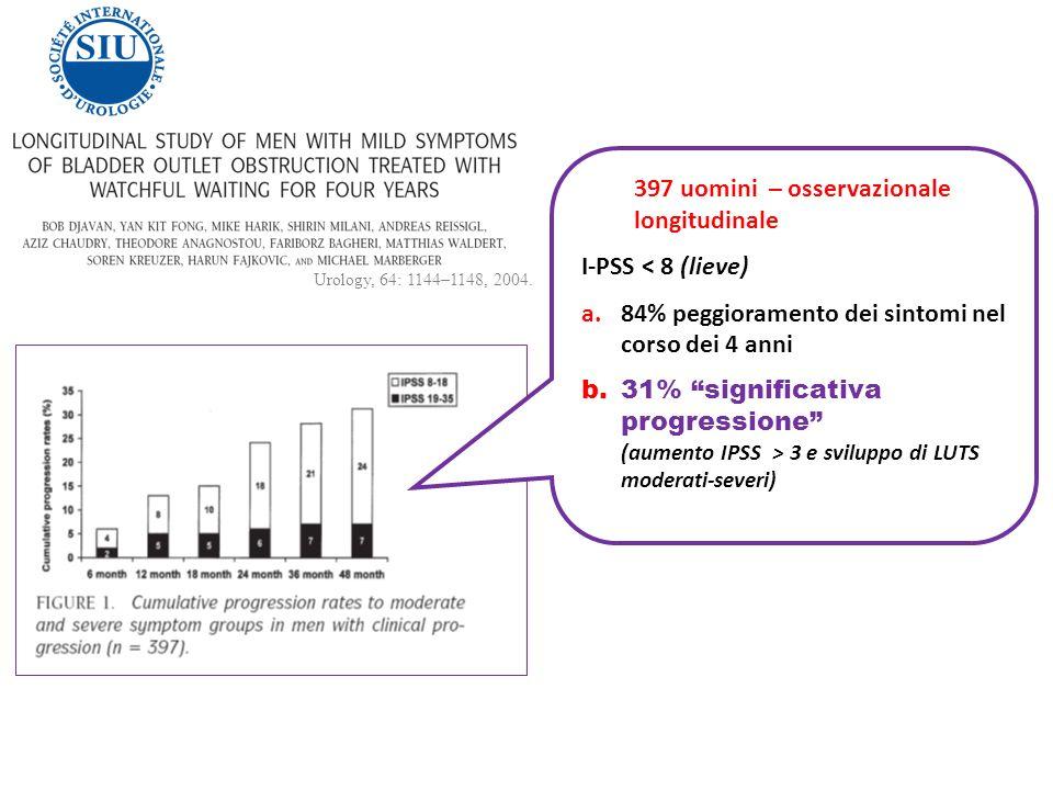 397 uomini – osservazionale longitudinale I-PSS < 8 (lieve) a.84% peggioramento dei sintomi nel corso dei 4 anni b.31% significativa progressione (aum