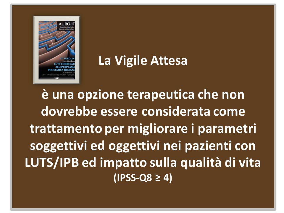 RCT multicentrico Totali pazienti arruolati 140 i.Età media= 63 aa ii.73= vigile attesa e modifiche stili di vita (SC + SM) iii.67= esclusiva Vigile Attesa iv.LUTS/IPB = I-PSS moderato-severo (8-35) - non complicati v.BPHii = 5.4 (VA+SM) vs 4.6 (VA) vi.IPSS-Q8= 4 (VA+SM) vs 3.3 (VA) vii.Follow up = 12 mesi