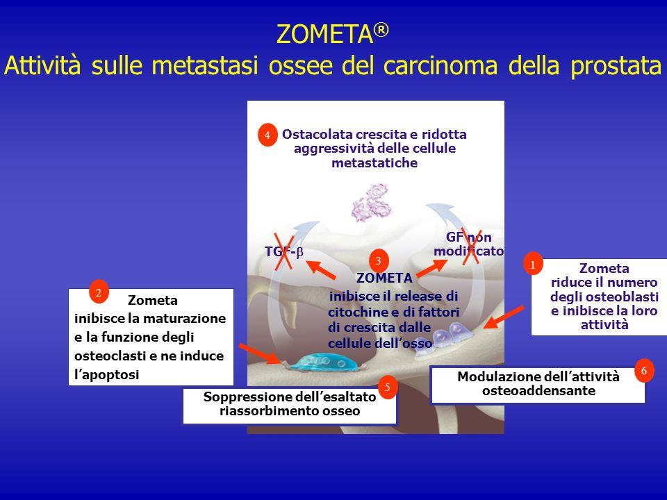 ZOMETA ® Attività sulle metastasi ossee del carcinoma della prostata Zometa inibisce la maturazione e la funzione degli osteoclasti e ne induce lapopt