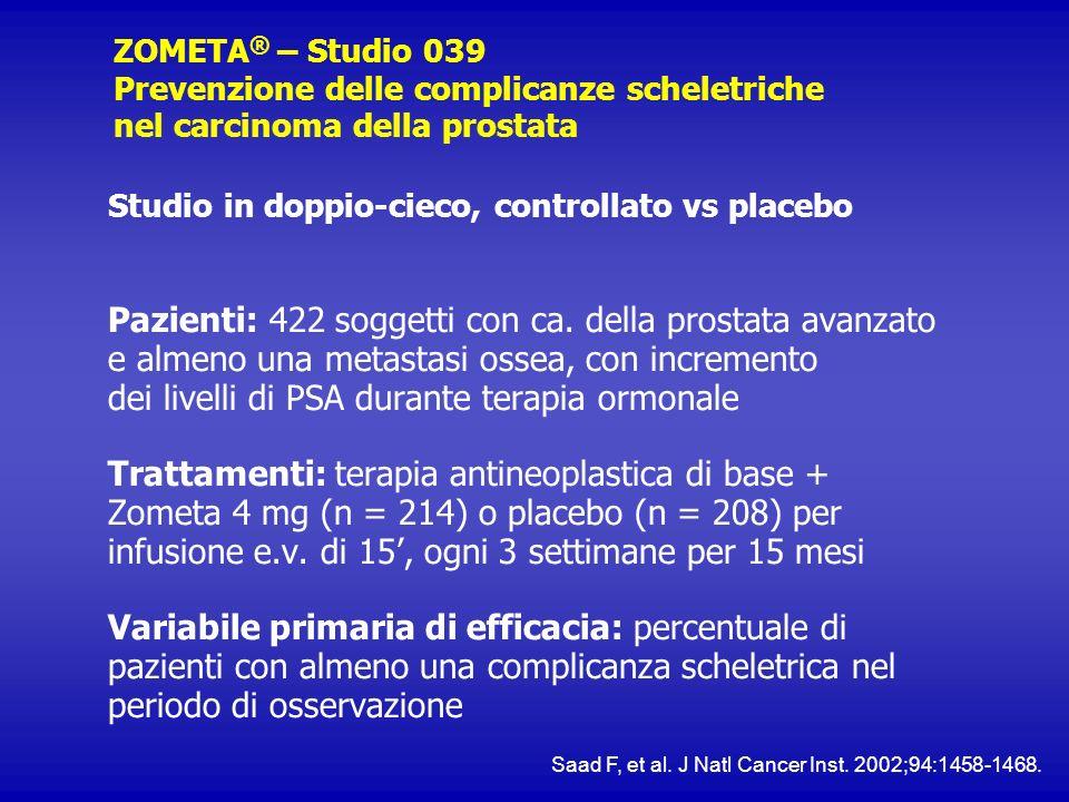 ZOMETA ® – Studio 039 Prevenzione delle complicanze scheletriche nel carcinoma della prostata Studio in doppio-cieco, controllato vs placebo Pazienti: