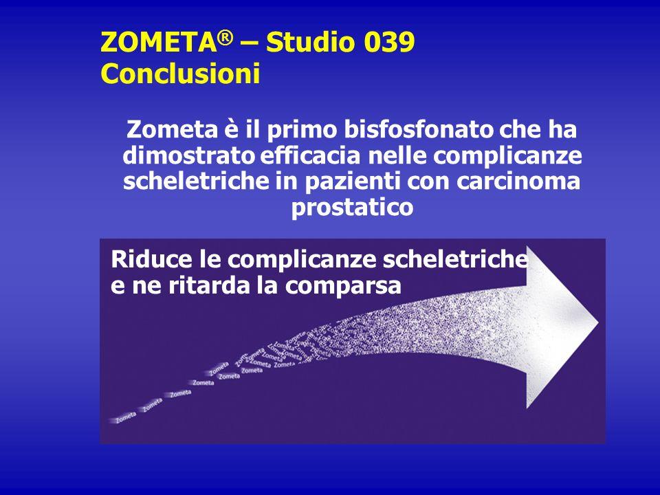 ZOMETA ® – Studio 039 Conclusioni Zometa è il primo bisfosfonato che ha dimostrato efficacia nelle complicanze scheletriche in pazienti con carcinoma