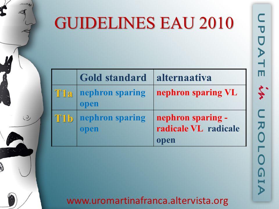 GUIDELINES EAU 2010 Gold standardalternaativaT1a nephron sparing open nephron sparing VL T1b nephron sparing open nephron sparing - radicale VL radica