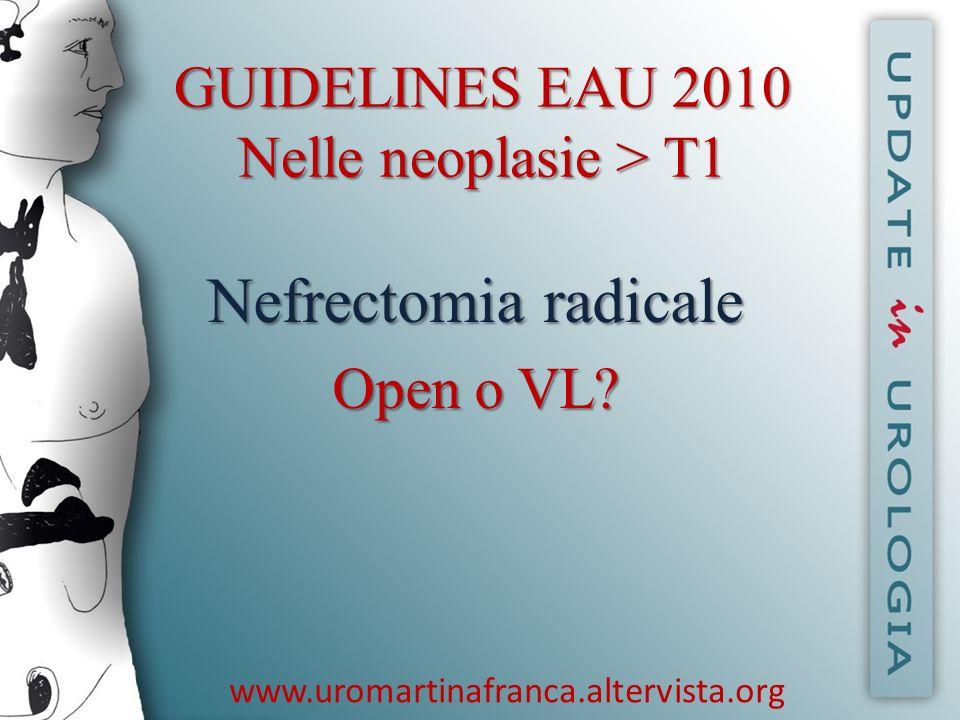 www.uromartinafranca.altervista.org GUIDELINES EAU 2010T2 GUIDELINES EAU 2010 T2 Dati a lungo termine indicano che la nefrectomia radicale laparoscopica è equivalente per tassi di sopravvivenza cancer- free alla nefrectomia radicale open.