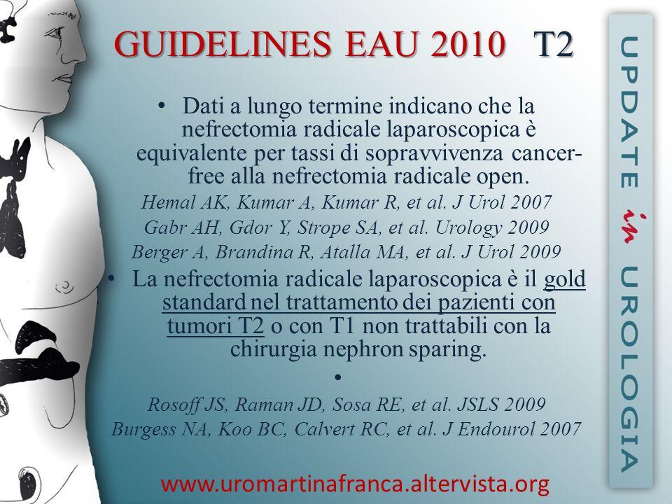 www.uromartinafranca.altervista.org GUIDELINES EAU 2010 Linfoadenectomia Unestesa o radicale dissezione dei linfonodi non sembra migliorare la sopravvivenza a lungo termine.