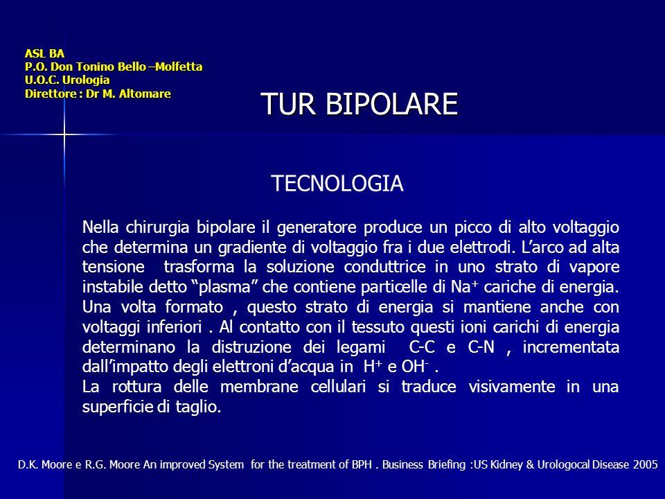 ASL BA P.O. Don Tonino Bello –Molfetta U.O.C. Urologia Direttore : Dr M. Altomare TUR BIPOLARE TECNOLOGIA Nella chirurgia bipolare il generatore produ