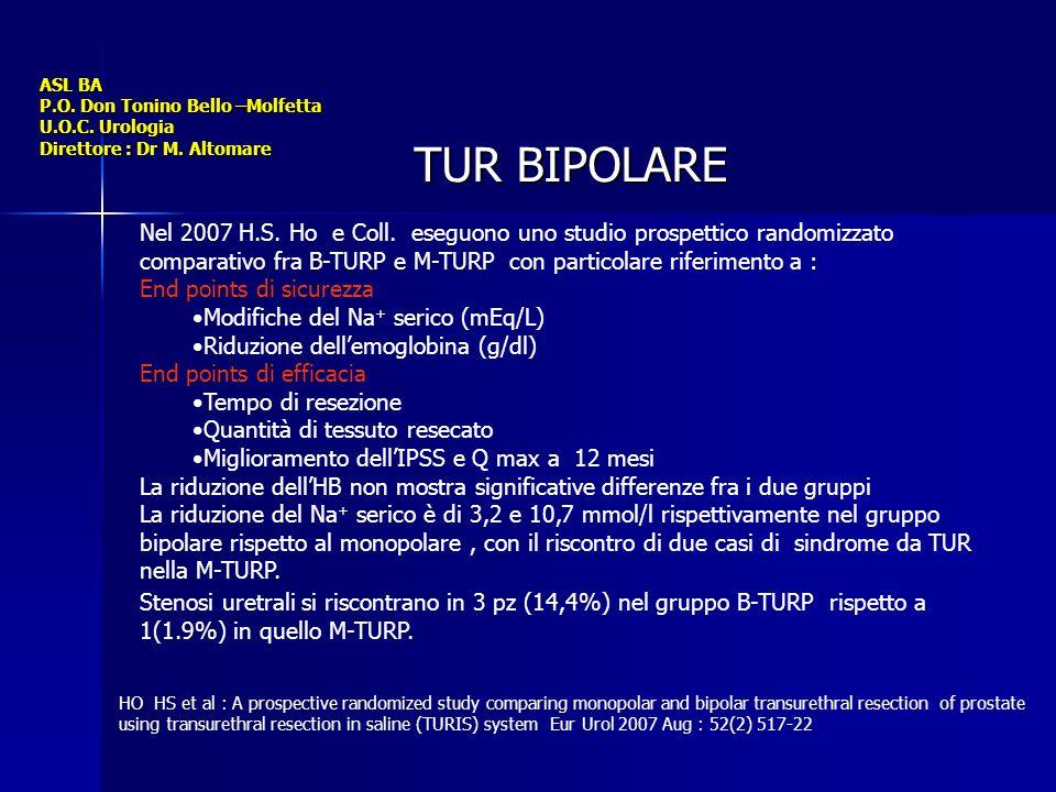 ASL BA P.O. Don Tonino Bello –Molfetta U.O.C. Urologia Direttore : Dr M. Altomare TUR BIPOLARE Nel 2007 H.S. Ho e Coll. eseguono uno studio prospettic