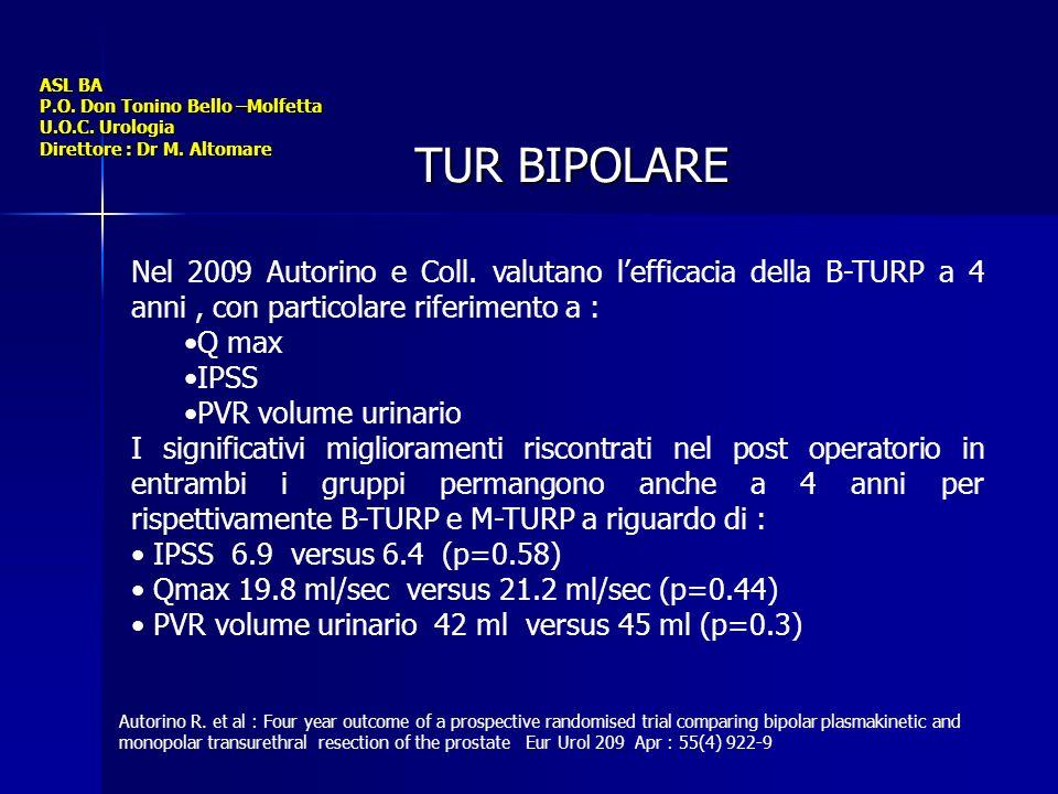 ASL BA P.O. Don Tonino Bello –Molfetta U.O.C. Urologia Direttore : Dr M. Altomare TUR BIPOLARE Nel 2009 Autorino e Coll. valutano lefficacia della B-T