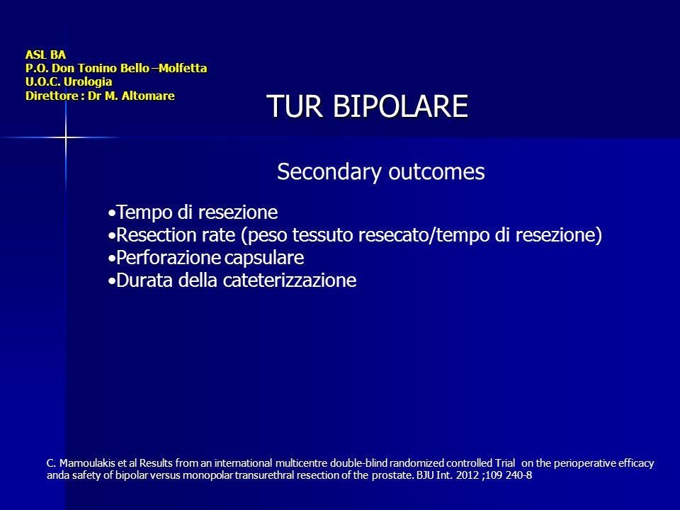ASL BA P.O. Don Tonino Bello –Molfetta U.O.C. Urologia Direttore : Dr M. Altomare TUR BIPOLARE Tempo di resezione Resection rate (peso tessuto resecat