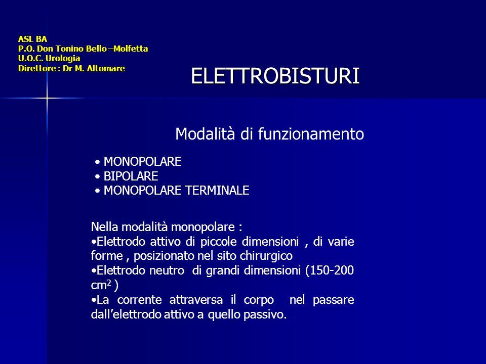 ASL BA P.O. Don Tonino Bello –Molfetta U.O.C. Urologia Direttore : Dr M. Altomare ELETTROBISTURI Modalità di funzionamento MONOPOLARE BIPOLARE MONOPOL