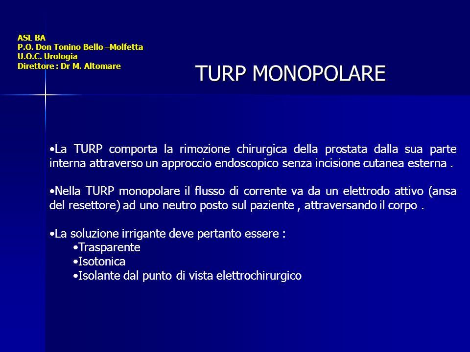 ASL BA P.O. Don Tonino Bello –Molfetta U.O.C. Urologia Direttore : Dr M. Altomare TURP MONOPOLARE La TURP comporta la rimozione chirurgica della prost
