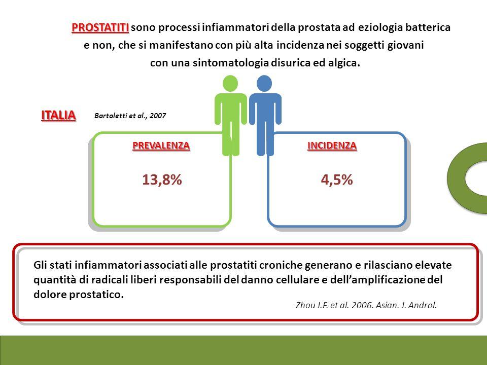 PROSTATITI Le PROSTATITI sono processi infiammatori della prostata ad eziologia batterica e non, che si manifestano con più alta incidenza nei soggett