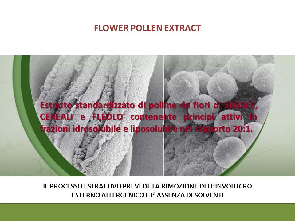Estratto standardizzato di polline da fiori di SEGALE, CEREALI e FLEOLO contenente principi attivi in frazioni idrosolubile e liposolubile nel rapport
