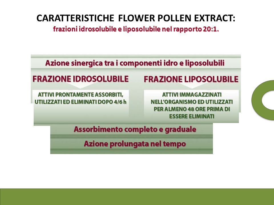 frazioni idrosolubile e liposolubile nel rapporto 20:1. CARATTERISTICHE FLOWER POLLEN EXTRACT: frazioni idrosolubile e liposolubile nel rapporto 20:1.