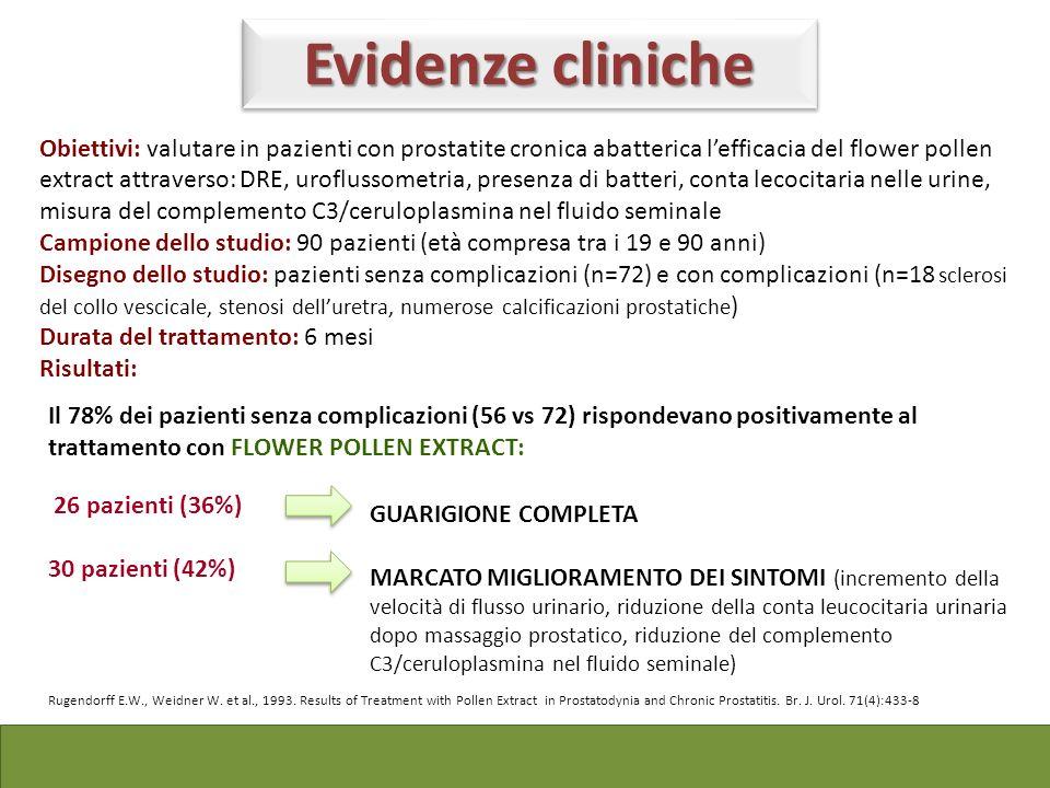 Obiettivi: valutare in pazienti con prostatite cronica abatterica lefficacia del flower pollen extract attraverso: DRE, uroflussometria, presenza di b