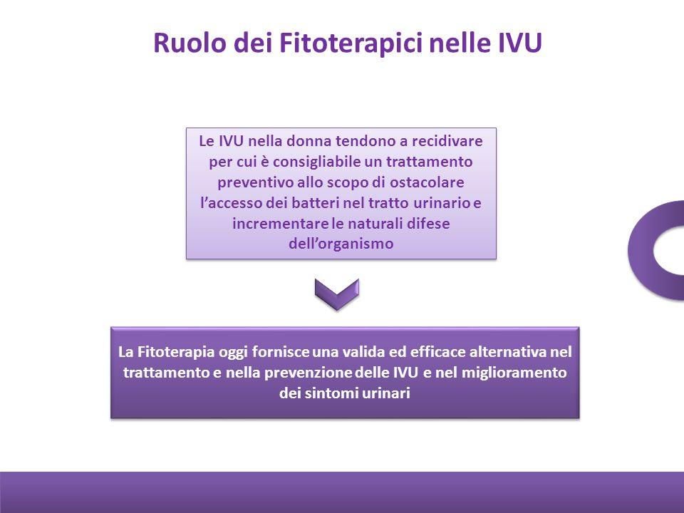 Ruolo dei Fitoterapici nelle IVU Le IVU nella donna tendono a recidivare per cui è consigliabile un trattamento preventivo allo scopo di ostacolare la
