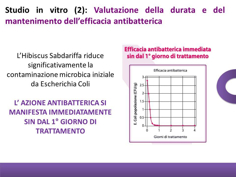 Studio in vitro (2): Valutazione della durata e del mantenimento dellefficacia antibatterica LHibiscus Sabdariffa riduce significativamente la contami