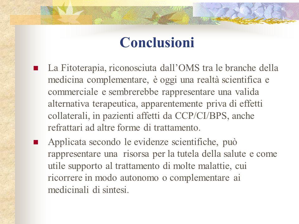 Conclusioni La Fitoterapia, riconosciuta dallOMS tra le branche della medicina complementare, è oggi una realtà scientifica e commerciale e sembrerebb