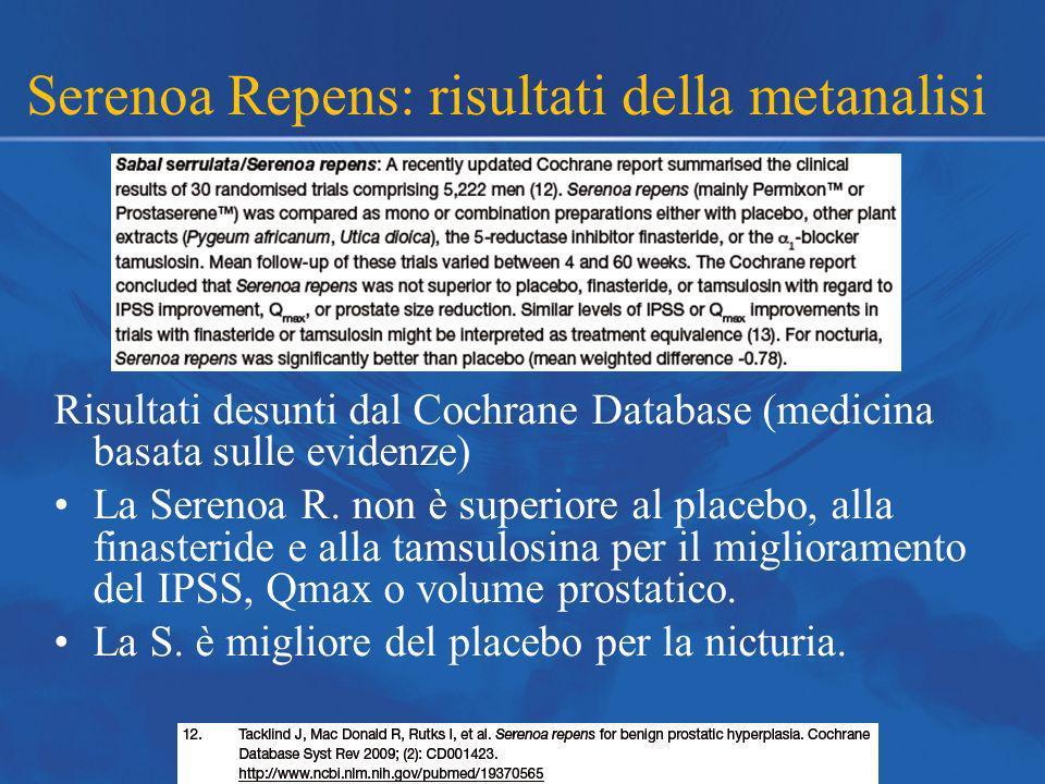 Serenoa Repens: risultati della metanalisi Risultati desunti dal Cochrane Database (medicina basata sulle evidenze) La Serenoa R. non è superiore al p
