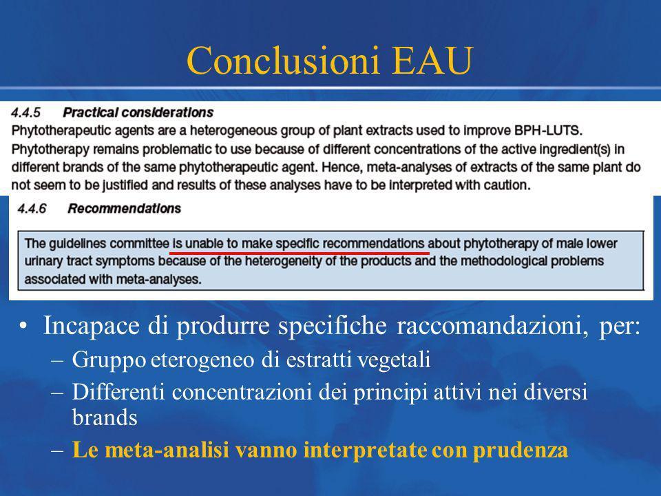 Conclusioni EAU Incapace di produrre specifiche raccomandazioni, per: –Gruppo eterogeneo di estratti vegetali –Differenti concentrazioni dei principi