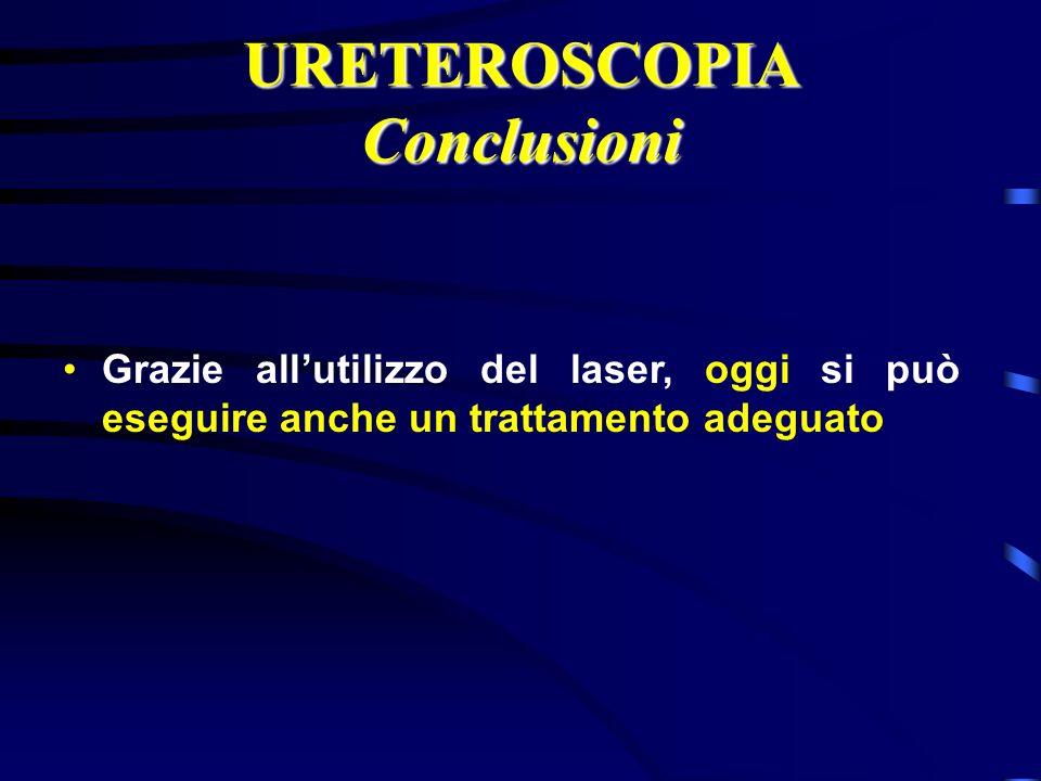 URETEROSCOPIA Conclusioni Grazie allutilizzo del laser, oggi si può eseguire anche un trattamento adeguato