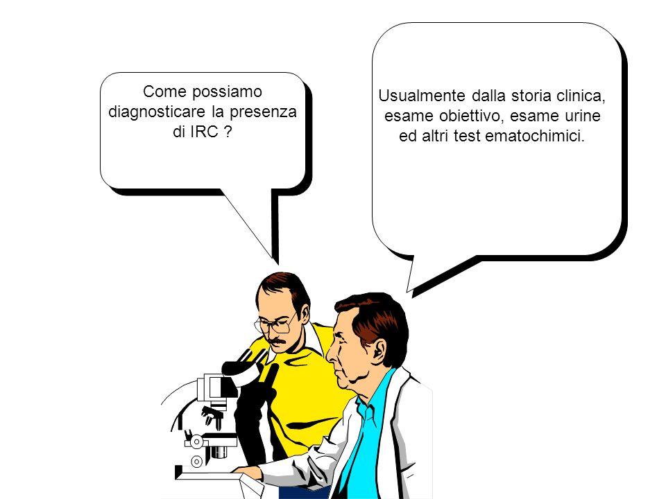 Come possiamo diagnosticare la presenza di IRC ? Usualmente dalla storia clinica, esame obiettivo, esame urine ed altri test ematochimici.