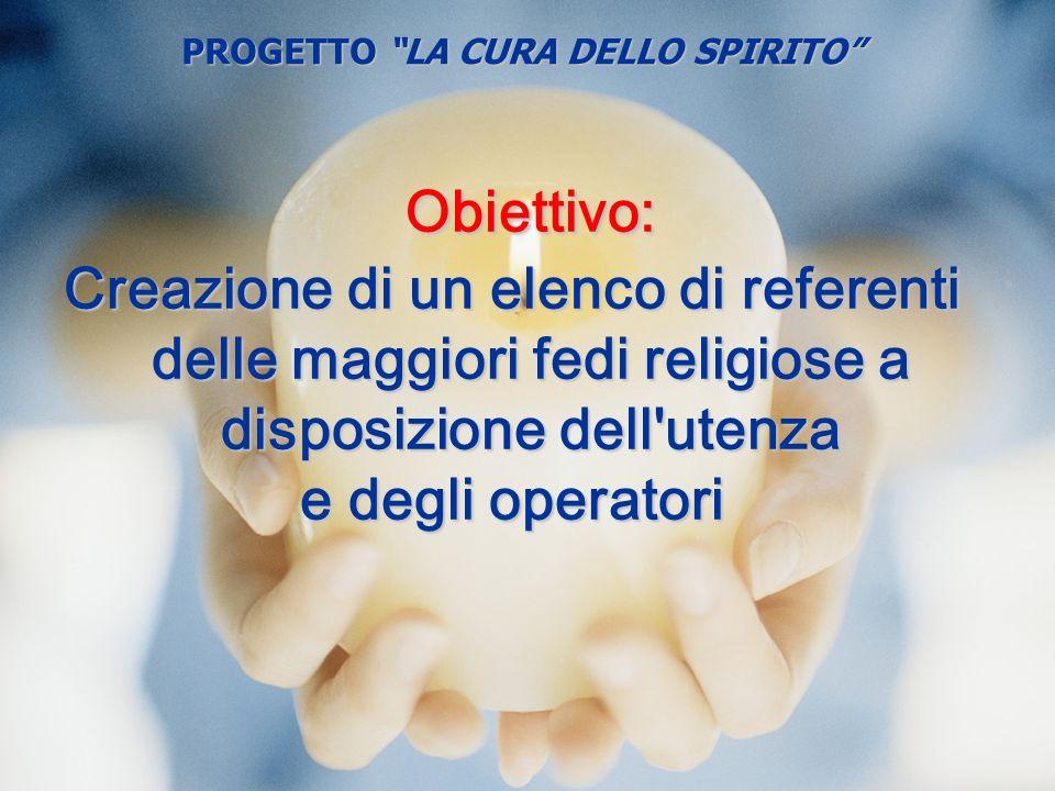 Obiettivo: Creazione di un elenco di referenti delle maggiori fedi religiose a disposizione dell'utenza e degli operatori PROGETTO LA CURA DELLO SPIRI