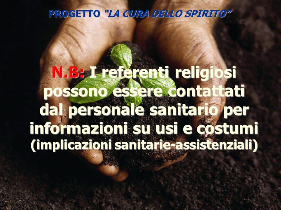 N.B: I referenti religiosi possono essere contattati dal personale sanitario per informazioni su usi e costumi (implicazioni sanitarie-assistenziali)