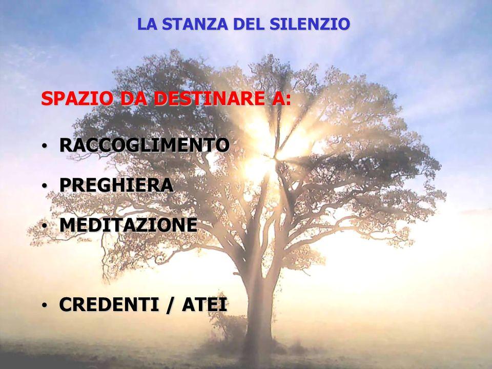SPAZIO DA DESTINARE A: RACCOGLIMENTO RACCOGLIMENTO PREGHIERA PREGHIERA MEDITAZIONE MEDITAZIONE CREDENTI / ATEI CREDENTI / ATEI LA STANZA DEL SILENZIO