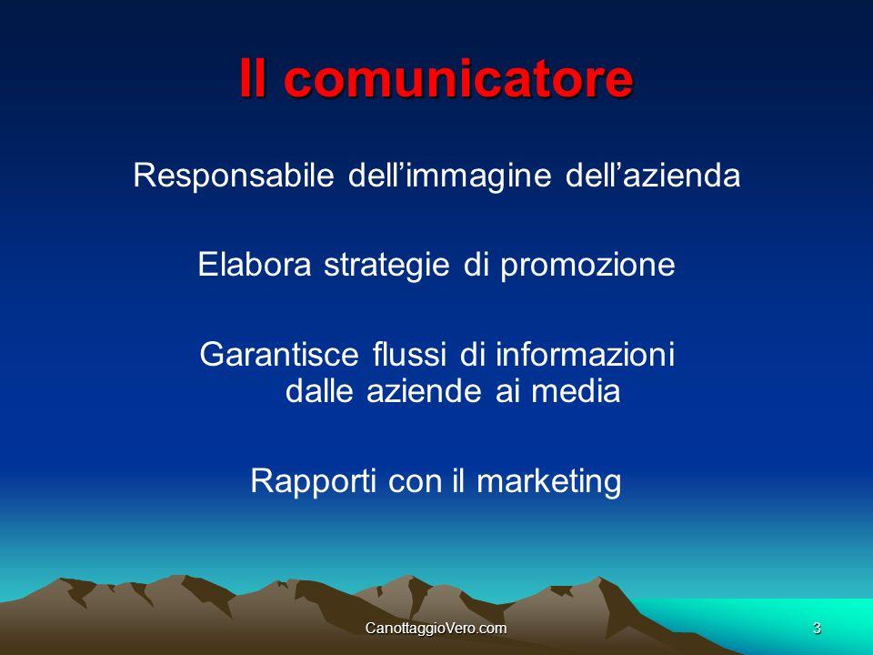 CanottaggioVero.com3 Il comunicatore Responsabile dellimmagine dellazienda Elabora strategie di promozione Garantisce flussi di informazioni dalle azi