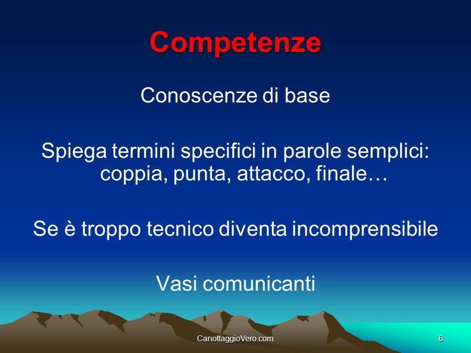 CanottaggioVero.com6 Competenze Conoscenze di base Spiega termini specifici in parole semplici: coppia, punta, attacco, finale… Se è troppo tecnico di