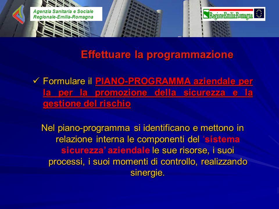 Agenzia Sanitaria e Sociale Regionale-Emilia-Romagna Effettuare la programmazione Formulare ilPIANO-PROGRAMMA aziendale per la per la promozione della