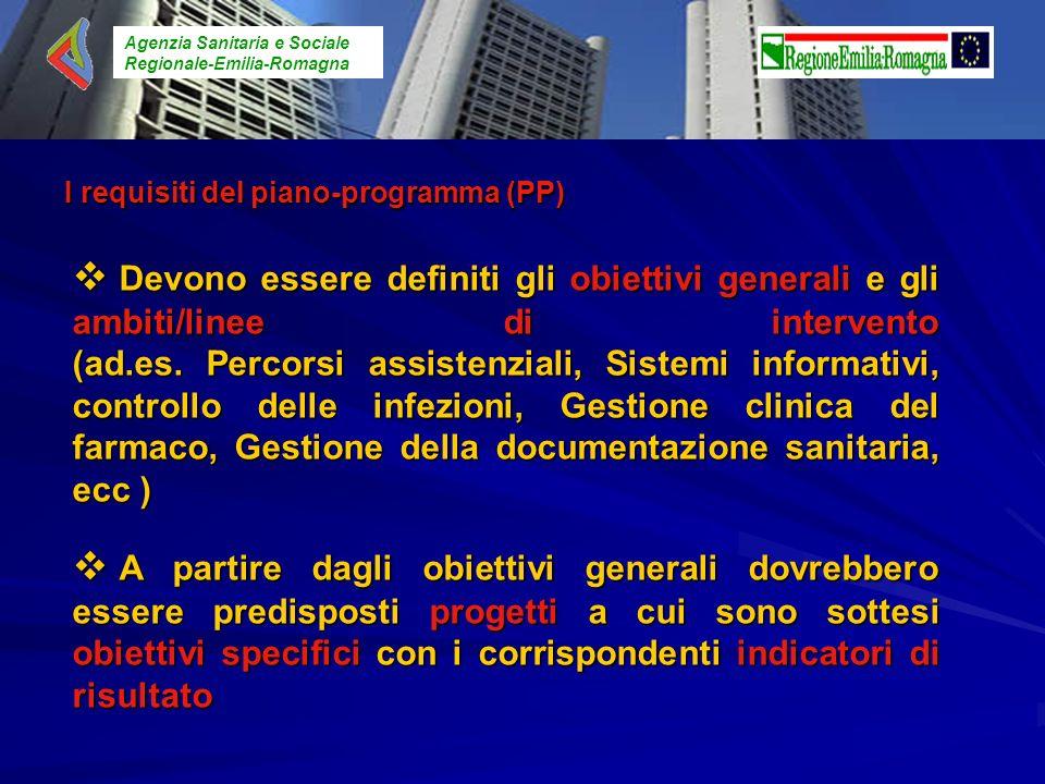 Agenzia Sanitaria e Sociale Regionale-Emilia-Romagna Devono essere definiti gli obiettivi generali e gli ambiti/linee di intervento (ad.es. Percorsi a