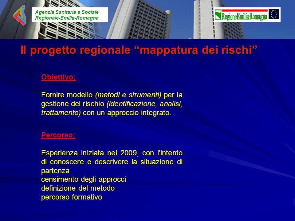 Agenzia Sanitaria e Sociale Regionale-Emilia-Romagna Il progetto regionale mappatura dei rischi Obiettivo: Fornire modello (metodi e strumenti) per la