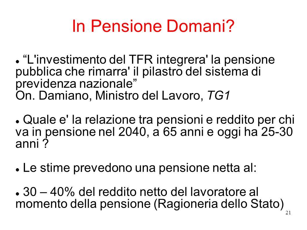 21 In Pensione Domani? L'investimento del TFR integrera' la pensione pubblica che rimarra' il pilastro del sistema di previdenza nazionale On. Damiano