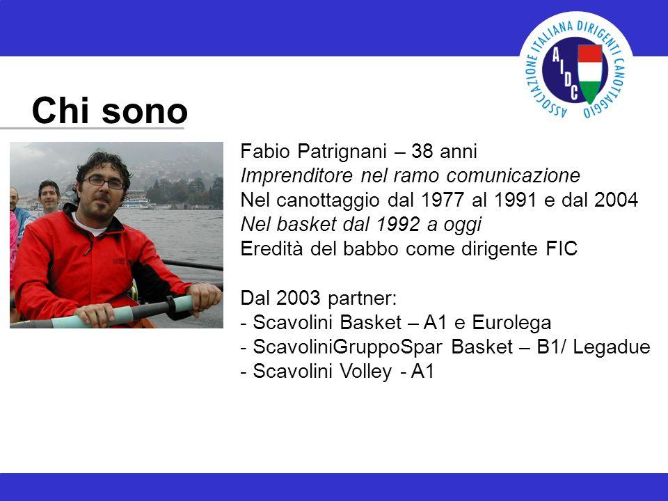 Chi sono Fabio Patrignani – 38 anni Imprenditore nel ramo comunicazione Nel canottaggio dal 1977 al 1991 e dal 2004 Nel basket dal 1992 a oggi Eredità