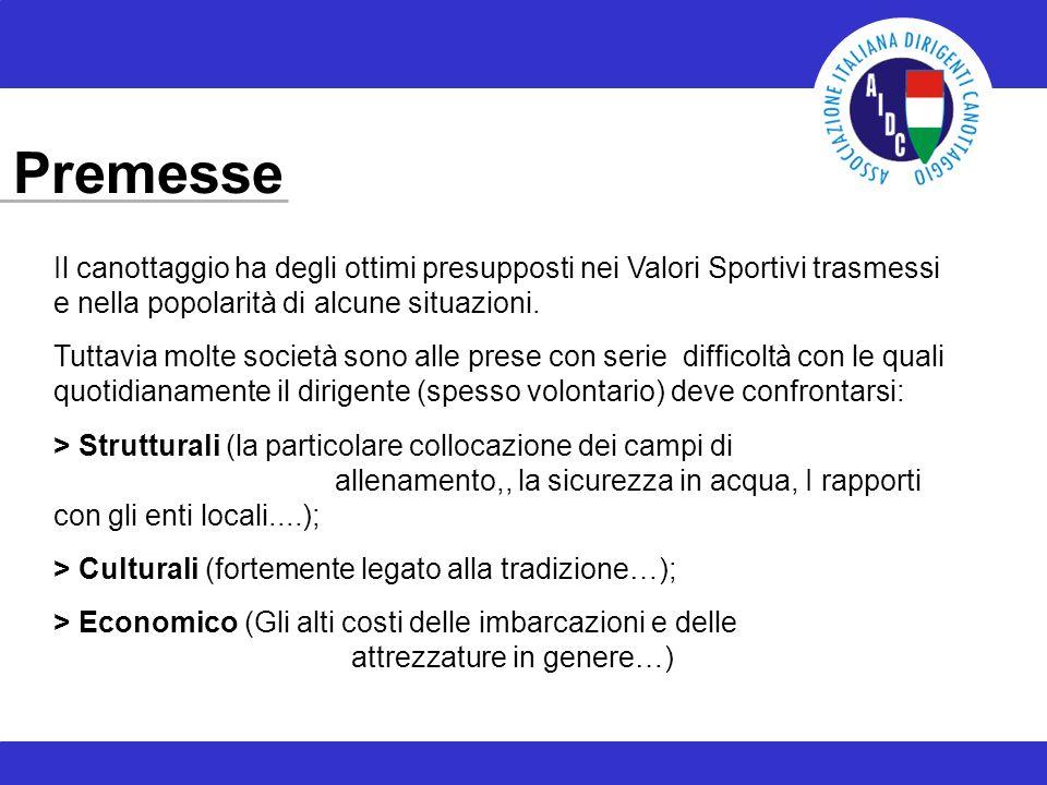 Premesse Il canottaggio ha degli ottimi presupposti nei Valori Sportivi trasmessi e nella popolarità di alcune situazioni.