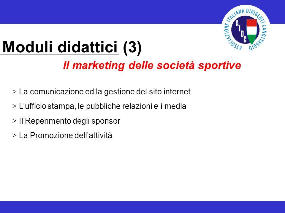 Moduli didattici (3) > La comunicazione ed la gestione del sito internet > Lufficio stampa, le pubbliche relazioni e i media > Il Reperimento degli sponsor > La Promozione dellattività Il marketing delle società sportive