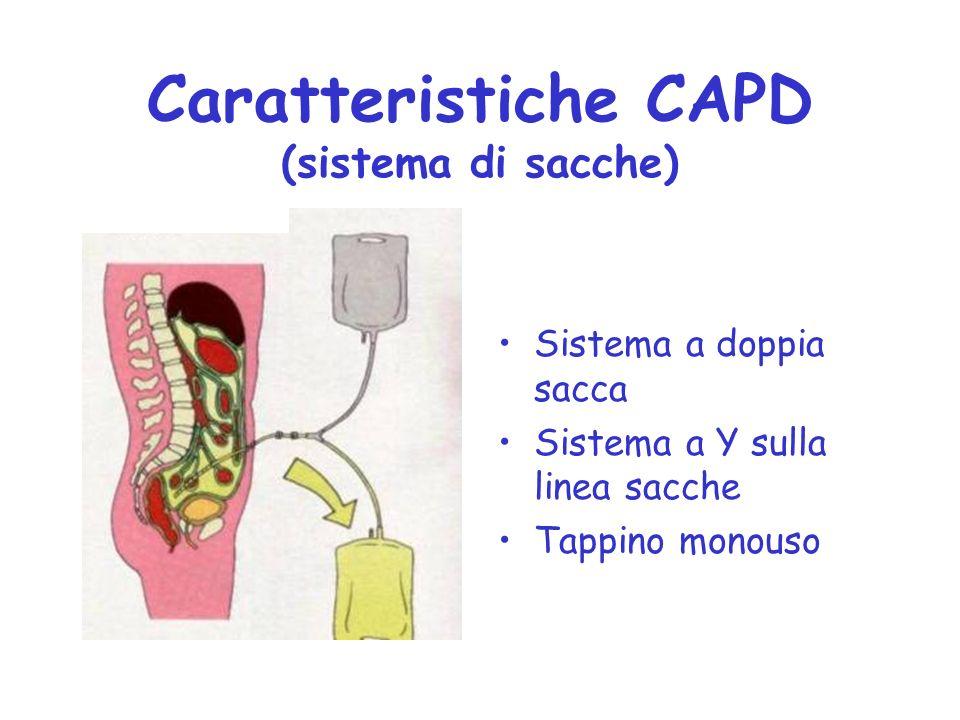 Caratteristiche CAPD (sistema di sacche) Sistema a doppia sacca Sistema a Y sulla linea sacche Tappino monouso