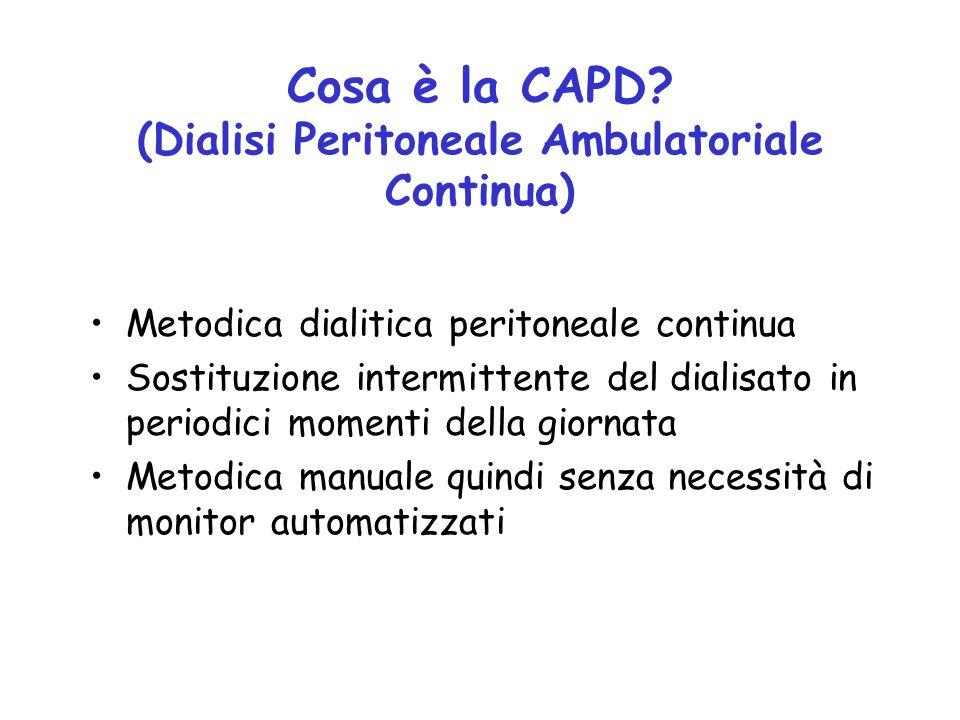 Cosa è la CAPD? (Dialisi Peritoneale Ambulatoriale Continua) Metodica dialitica peritoneale continua Sostituzione intermittente del dialisato in perio