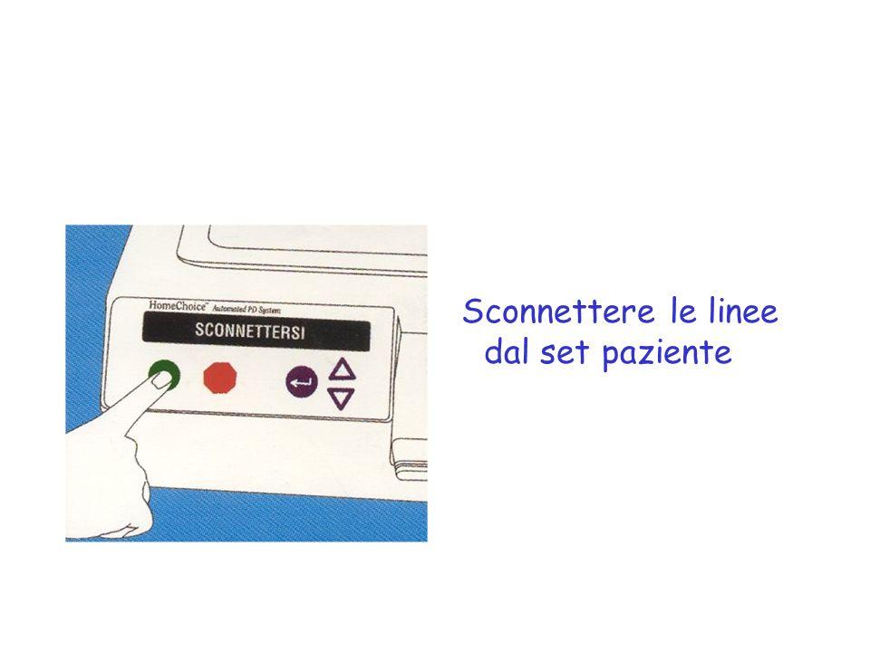 Sconnettere le linee dal set paziente