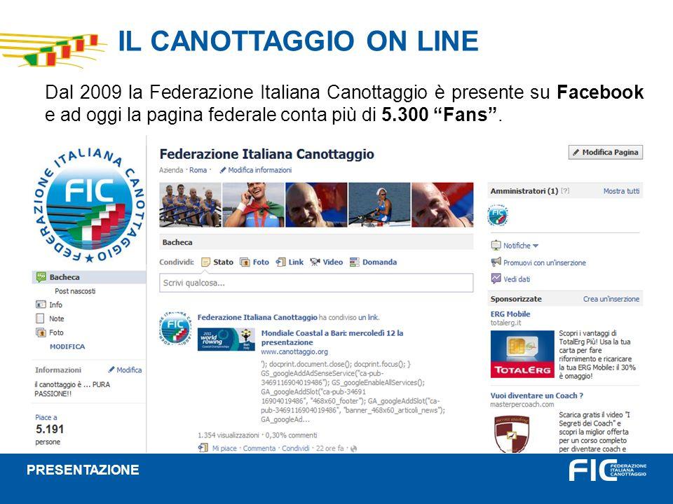 IL CANOTTAGGIO ON LINE Dal 2009 la Federazione Italiana Canottaggio è presente su Facebook e ad oggi la pagina federale conta più di 5.300 Fans. PRESE