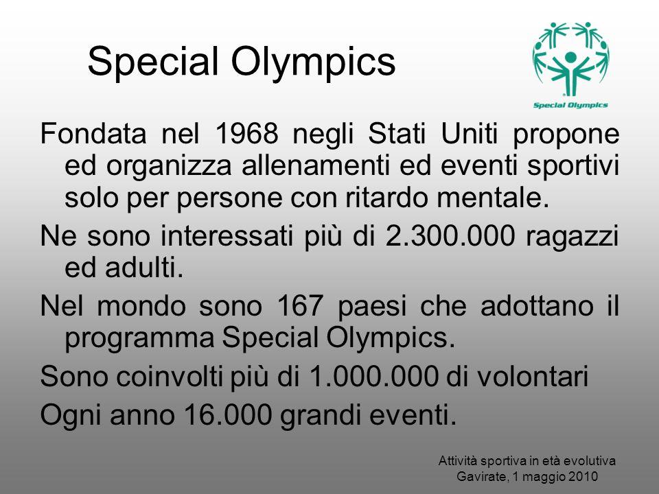 Special Olympics Fondata nel 1968 negli Stati Uniti propone ed organizza allenamenti ed eventi sportivi solo per persone con ritardo mentale. Ne sono