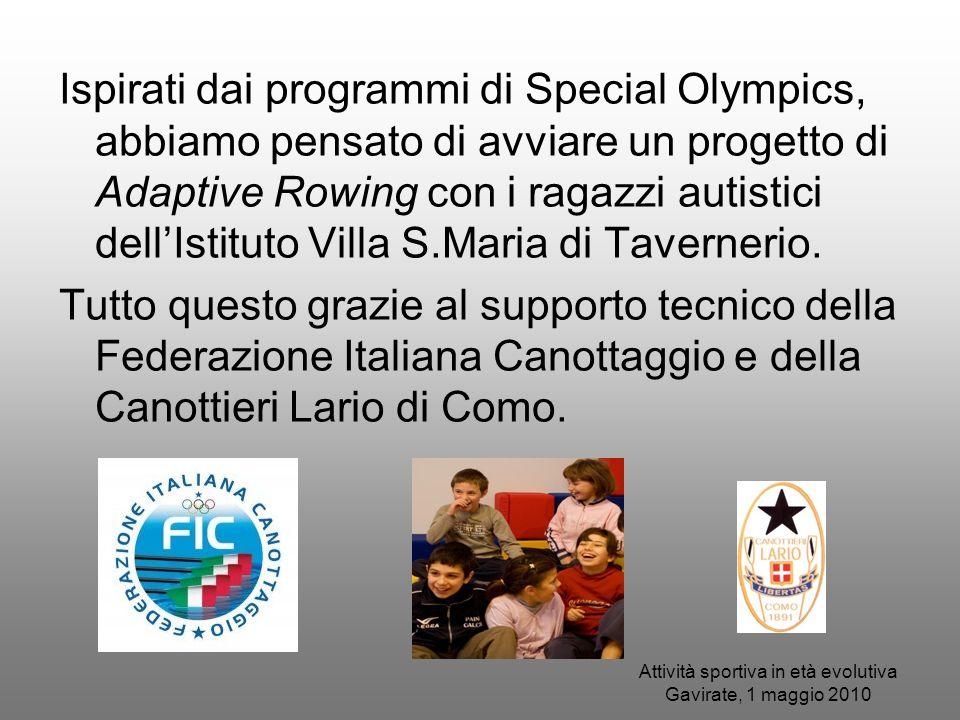Attività sportiva in età evolutiva Gavirate, 1 maggio 2010 Ispirati dai programmi di Special Olympics, abbiamo pensato di avviare un progetto di Adapt