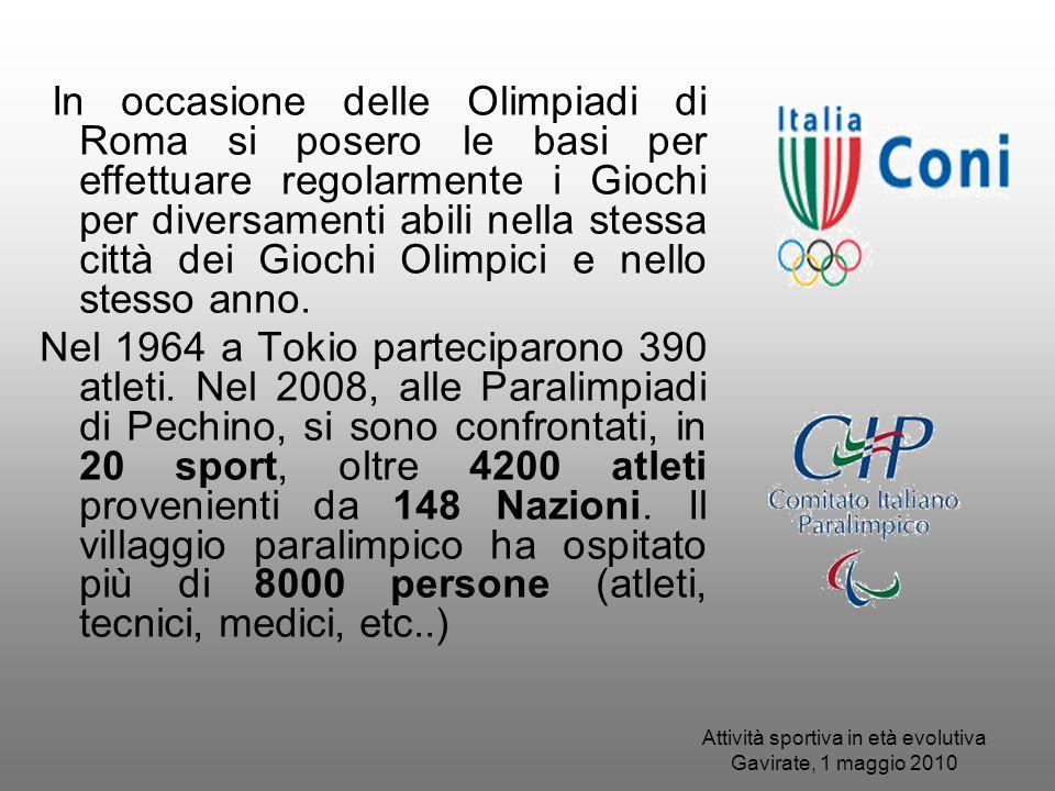 In occasione delle Olimpiadi di Roma si posero le basi per effettuare regolarmente i Giochi per diversamenti abili nella stessa città dei Giochi Olimp