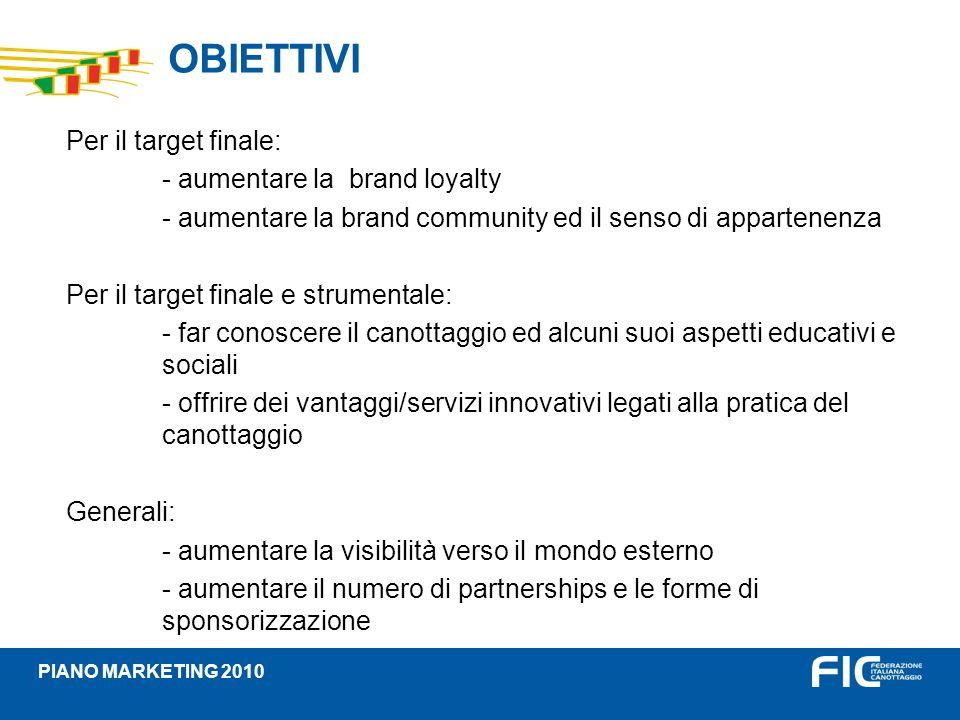 OBIETTIVI PIANO MARKETING 2010 Per il target finale: - aumentare la brand loyalty - aumentare la brand community ed il senso di appartenenza Per il ta