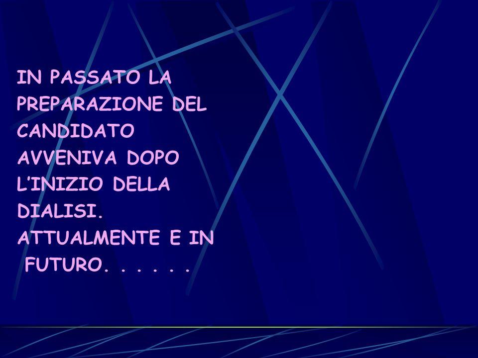 IN PASSATO LA PREPARAZIONE DEL CANDIDATO AVVENIVA DOPO LINIZIO DELLA DIALISI. ATTUALMENTE E IN FUTURO......